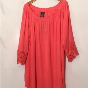 Chelsea & Theadore coral tunic blouse XXL